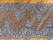 "Laverslace impresionante Floral Gris Plata amplia franja Tul Ribete de Encaje 6.5/""//16.5cm"