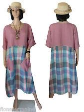 Gr.L  46/48 Kleid Leinenkleid Sommerkleid Flieder figurumspielend Karo LAGENLOOK
