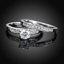 Ring 2 in 1 mit Vorsteckring Weißgold pl. 17 klare Zirkonia Silber Verlobung
