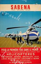 Poster Vintage Sabena Belgian helicóptero servicio de impresión A3/A4