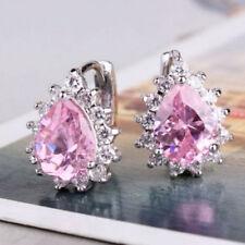 925 Silver Pink Gemstone Diamond Flower Earrings Hoop Ear Stud Elegant Jewelry