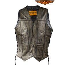 Men's 10 Pocket Premium Distressed Brown Leather Motorcycle Biker Vest