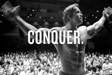 "Arnold schwarzenegger Conqier poster Gym bodybuilding motivation decor 39""x76"""