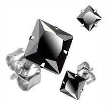 Pair of Black Gem CZ .925 Sterling Silver Studs 3 - 9mm CZ Push Back Earring H25