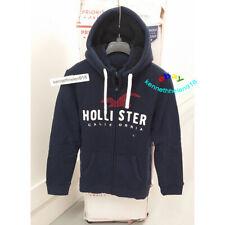 Hollister Hombre Logo Forro Sherpa Sudadera con Capucha y Cremallera Azul Marino