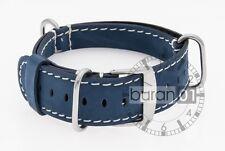 uhrenarmbänder-militär cinturino con passante vera pelle - Blu/bianco 18 mm