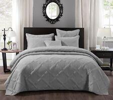 Tache Solid Light Grey Silver Cotton Lightweight Quilt Coverlet Bedspread Set