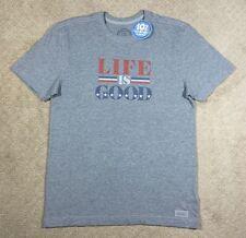 NWT Men's Life is Good Crusher Gray Patriotic Short Sleeve T-Shirt