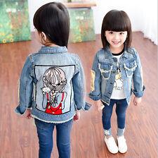Toddler Kids Girls Jeans Jacket Outdoor Travel School Denim Jacket Coat 1Y-13Y