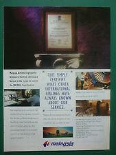 1/1996 PUB COMPAGNIE AERIENNE MALAYSIA AIRLINES BOEING 747 ORIGINAL AVIATION AD