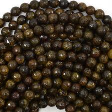 "Faceted Bronzite Round Beads Gemstone 15"" Strand 4mm 6mm 8mm 10mm 12mm"