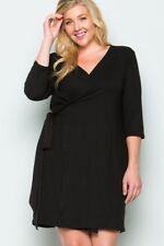 Aime Stretch 3/4 Sleeve Wrap Dress - Black - Plus 1XL, 2XL, 3XL - New!