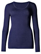 New Ex Marks And Spencer Womens Heatgen Thermal Long Sleeved Top Dark Indigo