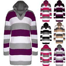 Womens Ladies Cricket Block Stripes Knit Hood Hoody Mini Dress Hooded Jumper Top