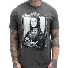 Hombre Mona Tatuajes Lisa Gánster Negro Newmarket Arte Gris Carbón Camiseta