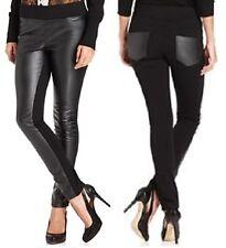ECI  Black Faux-Leather Stretch Panel Leggings Pants w/Back Pockets  - MSRP $69
