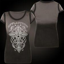 AFFLICTION Damen T-Shirt Province Schwarz/Grau