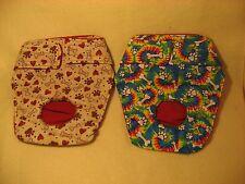 Reusable 2pk Diapers for Female Dogs/Spider Monkeys Tie Dye & Tan Bones n' Paws