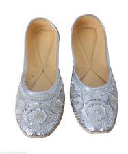 Women Shoes Indian Handmade Leather Flip-Flops Oxfords Silver Mojari US 4-12