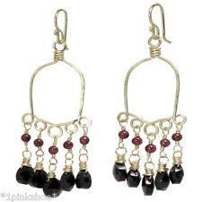 Caicos 37 ~ Rhodolite Garnet & Black Spinel Drop Earrings with Metal Choice