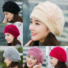 Fashion Womens Beret Winter Warm Baggy Flower Knit Crochet Beanie Slouch Hat Cap
