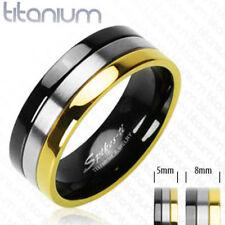 Solid Titanium Wedding Ring Gold & Black Size 5,6,7,8,9,10,11,12,13,14 (FL21)