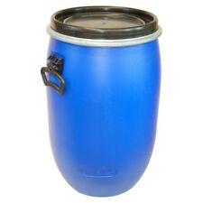 Baril tonneau fût plastique Bleu 60 L avec couvercle et bague de serrage (22095)