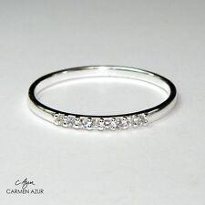 Parte de plata esterlina 925 anillo de la eternidad 8 CZ Piedras Slim J1/2, L1/2, o, q + Bolsa De Regalo