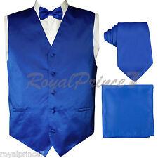 Royal Blue Tuxedo Dress Vest Waistcoat and Neck tie Butterfly Bow Tie & Hanky