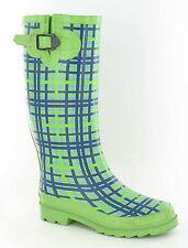*SALE* Ladies Green/Blue Tartan Pattern Rubber Wellies. X1161