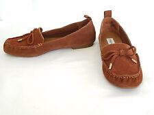 """Steve Madden Cognac (Brown) Suede Lace-Up Loafer / Moccasin 0.25"""" Heel"""