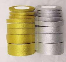 25 Yards Roll Gold/Silver Sheer Organza Ribbon Party Wedding Favor 3mm-50mm