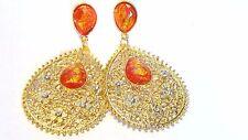 FILIGREE GOLD EARRINGS TEARDROP HOOP ACCENT GOLD TONE EARRINGS 1.5 IN W 3 IN L
