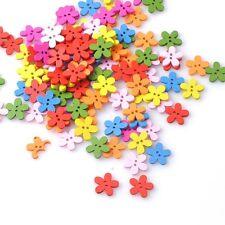 10 Bouton bois fleur multicolore 15mm Scrapbooking Mercerie couture art créatif