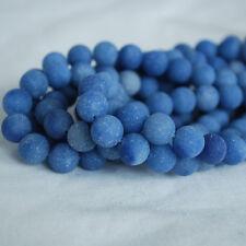 Piedra Preciosa Natural Azul Aventurina Mate Esmerilado redonda con cuentas - 4 mm 6 mm 8 mm 10 mm