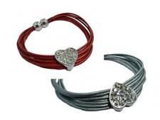Silver Tone Costume Jewellery Heart Charm PU Leather Magnet Bracelet