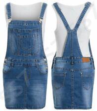 NEW Womens Denim Dungaree Skirt Jean Pinafore Dress Blue Sizes 6 8 10 12 14