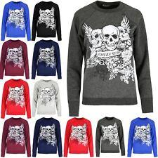 Ladies Halloween Spooky Top Womens Party 3 Skull Forever Young Fleece Sweatshirt