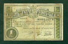 F.C. BILLETE DE FONT  SACALM   1 PTA  EBC-  SUCIO