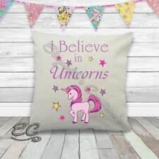 I Believe in Unicorns Beautiful Cream Linen Textured Cream Cushion Cover 40x40cm