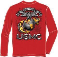 Erazor Bits Long Sleeve T-Shirt - USMC Semper Fidelis - Marine Corps Logo - Red
