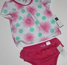 baby Gap NWT Girl's 2 Pc. Rashguard Swimsuit w/ Ruffle Bottoms