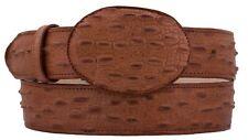 Mens Cognac Genuine Leather Belt Iguana Print Lizard Cowboy Round Buckle