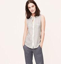 NWT Ann Taylor Loft Grey Collared Sleeveless Button Cotton Shirttail Shirt S M L