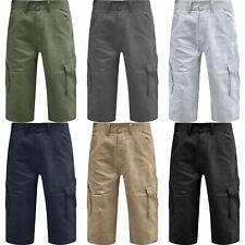 Mens Cargo 3/4 Long Length Chino Three Quarter Multi Pockets Combat Shorts 30-46
