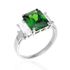 5Ct Emerald Cut Emerald and Zirconia 14K White Gold Three Stone Engagement Ring