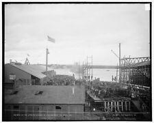 Photo of In the stream launch of the U S S Georgia at Bath Me 1904 Detriot Pub