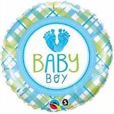 bébé garçon baptême amour bleu 2 faces 45.7cm Fête Ballon plat Qualatex