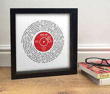 Encadrée chanson paroles Personnalisé | Authentique Vinyl Record Label | encadrée Photo