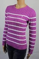 Ralph Lauren Purple Cable Knit Crewneck Sweater White Stripes NWT